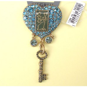PIlgrim Key Star and Heart Brooch, Turquoise/Gold