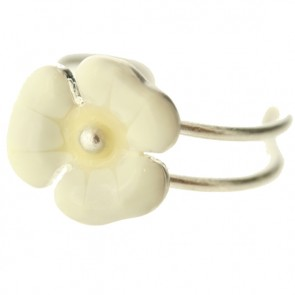 PIlgrim Floral Delicacy Toe Ring, White/Silver