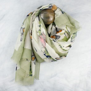 Green Mix Butterfly Scarf By POM