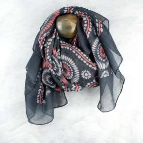 Grey Mix Coral Pink Dotty Circles Scarf by POM