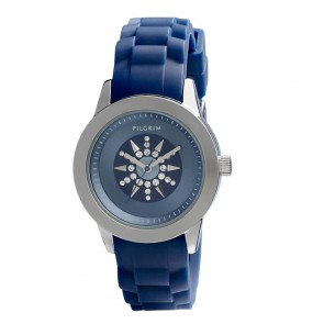 Pilgrim, Watch with rubber strap, Silver Plated, Blue