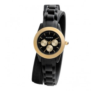 Pilgrim, Watch with rubber strap, Gold Plated, Black