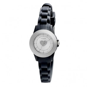 Pilgrim, Watch with rubber strap, Silver Plated, Black
