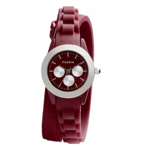 Pilgrim, Watch with rubber strap, Silver Plated, Bordeaux