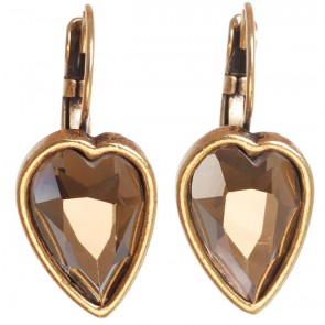 A&C Faceted Hearts, French Hook Drop Earrings, Brown/Gold