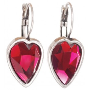 A&C Faceted Hearts, French Hook Drop Earrings, Deep Pink