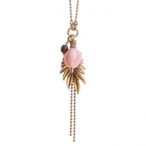 A&C Feather, Simple Necklace, Coral/Gold