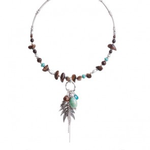 A&C Feather, Adjustable Choker, Blue/Silver