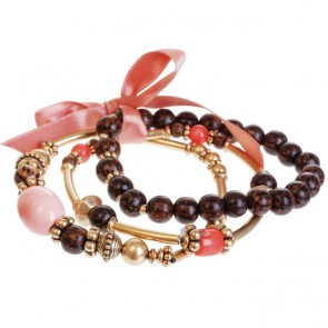 A&C Feather, Gorgeous Elasticated Bracelet, Coral/Gold