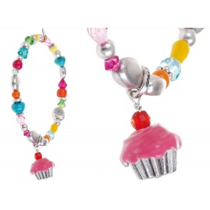 A&C Tea Party, Elasticated Beads And Muffin  Bracelet