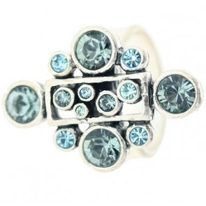 A&C Classic Party Beautiful Adjustable Ring, Blue/Silver