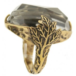 A&C Maple Leaf, Stunning  Ring, Crystal/Gold