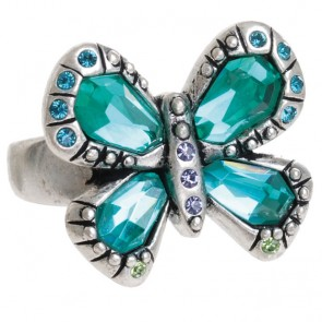 A&C Tropical Butterfly, Adjustable Ring Turquoise/Silver