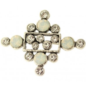 A&C Classic Party Brooch, White/Crystal/Silver