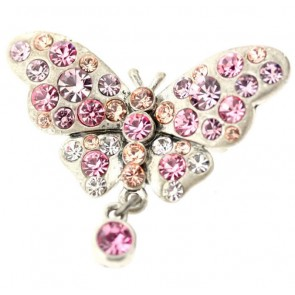 A&C Classic Beauty Butterfly Brooch, Rose/Silver