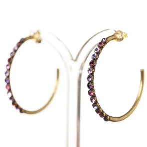 Michal Negrin Large Creole Hoop Earrings, Purple Mix/Gold
