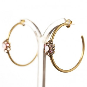 Michal Negrin Large Creole Hoop Earrings, Rose Mix/Gold