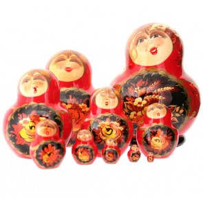 Beautiful, red set of ladies with funny faces. 10 Piece