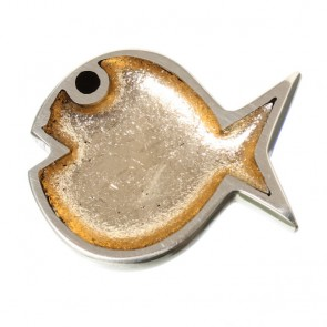 Watch this Space Brooch from the Bubble Fish Collection, Gold/Silver