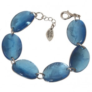 Watch this Space Bracelet from the Curved Oval Collection, Sky/Silver