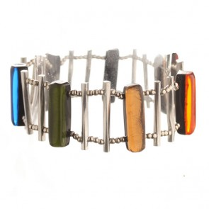 Watch this Space Bracelet from the Matchsticks Collection, Rainbow/Silver