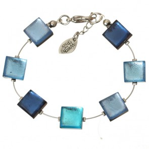 Watch this Space Bracelet, Square Buttons Collection, Ocean/Silver