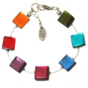 Watch this Space Bracelet, Square Buttons Collection, Rainbow/Silver