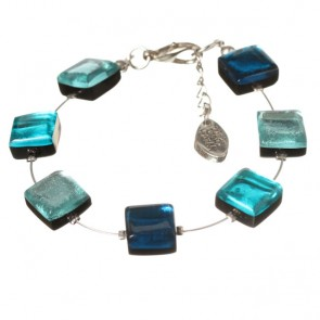 Watch this Space Bracelet, Square Buttons Collection, Teal/Silver