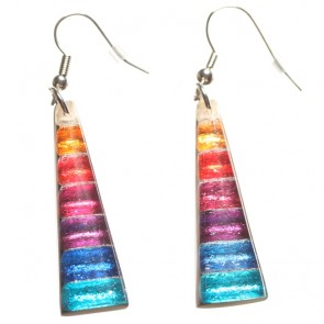 Watch this Space Earrings from the Triangular Stripes Collection, Rainbow
