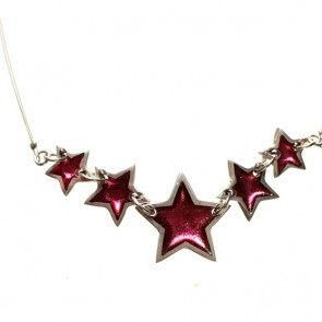 Watch this Space Necklace from the Pewter Stars Collection, Pink